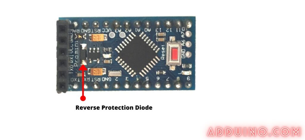 the reverse protection diode that i found of my arduino pr mini